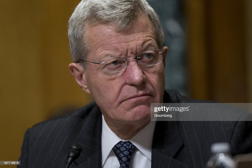 Senator <a gi-track='captionPersonalityLinkClicked' href=/galleries/search?phrase=Max+Baucus&family=editorial&specificpeople=242972 ng-click='$event.stopPropagation()'>Max Baucus</a>, a Democrat from Montana and chairman of the Senate Finance Committee, listens during a hearing with Kathleen Sebelius, secretary of Health and Human Services (HHS), not pictured, in Washington, D.C., U.S., on Wednesday, Nov. 6, 2013. Baucus, the lead architect of Obamacare in the Senate said the U.S. health secretary needs to stay at the helm to repair the insurance exchanges and must 'meet, and I'd prefer you beat' an end-of-the-month deadline for the fixes. Photographer: Andrew Harrer/Bloomberg via Getty Images