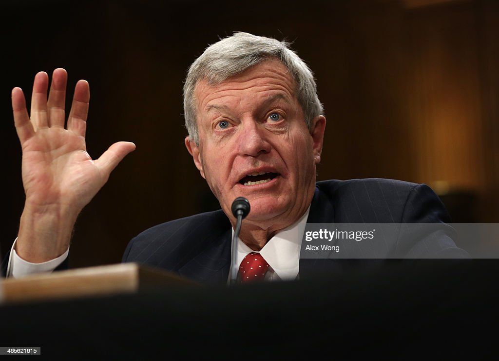 U.S. Senator Max Baucus (D-MT) testifies during his confirmation hearing before the Senate Foreign Relations Committee January 28, 2014 on Capitol Hill in Washington, DC. Senator Baucus, who was nominated by President Barack Obama, will become the next U.S. ambassador to China if confirmed by the Senate.