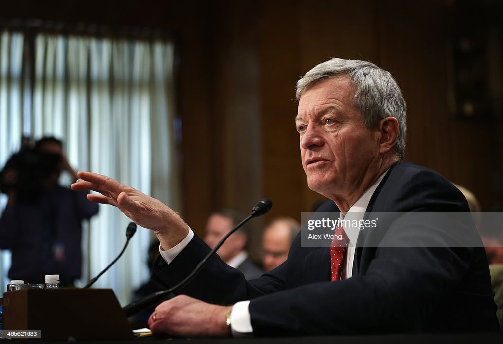 U.S. Senator <a gi-track='captionPersonalityLinkClicked' href=/galleries/search?phrase=Max+Baucus&family=editorial&specificpeople=242972 ng-click='$event.stopPropagation()'>Max Baucus</a> (D-MT) testifies during his confirmation hearing before the Senate Foreign Relations Committee January 28, 2014 on Capitol Hill in Washington, DC. Senator Baucus, who was nominated by President Barack Obama, will become the next U.S. ambassador to China if confirmed by the Senate.