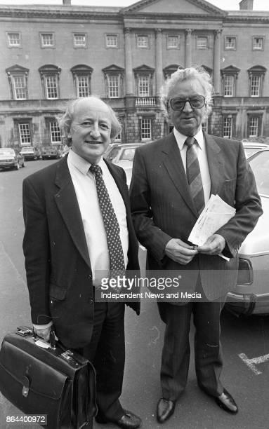 Senator Michael D Higgins and unnamed Senator arriving at Leinster House for the Senate Meeting October 1 1986