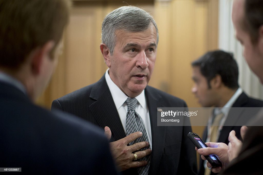 Senator Michael 'Mike' Johanns, a Republican from Nebraska, speaks to a reporter after voting on the nomination of Janet Yellen as chairman of the U.S. Federal Reserve in Washington, D.C., U.S., on Monday, Jan. 6, 2014. Yellen, currently Fed vice chairman, won U.S. Senate confirmation to become the 15th chairman of the Federal Reserve and the first woman to head the central bank in its 100-year history. Photographer: Andrew Harrer/Bloomberg via Getty Images