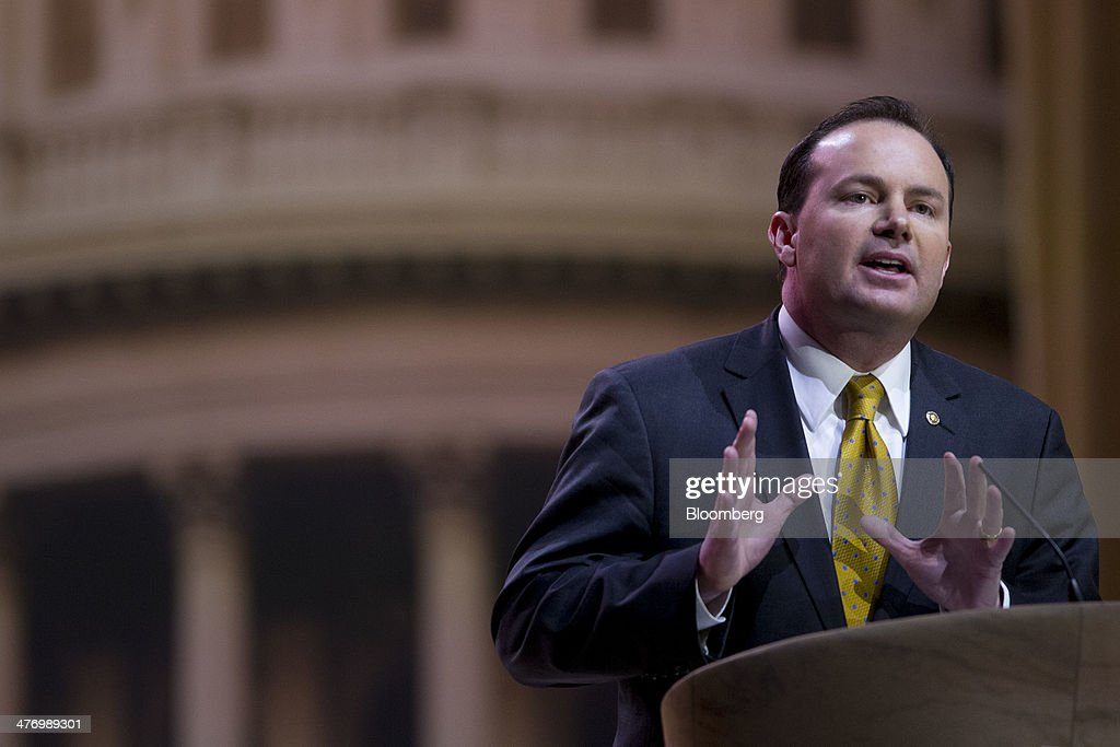 Senator Michael ' Mike' Lee, a Republican from Utah, speaks during the Conservative Political Action Conference (CPAC) in National Harbor, Maryland, U.S., on Thursday, March 6, 2014. CPAC, a project of the American Conservative Union (ACU), runs until Saturday, March 8. Photographer: Andrew Harrer/Bloomberg via Getty Images