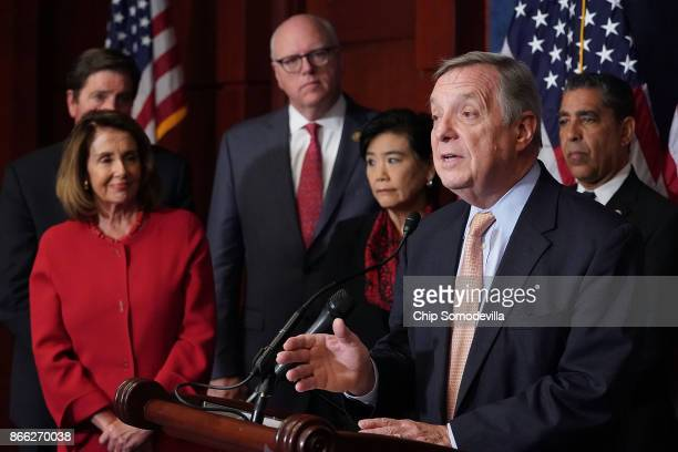 Senator Minority Whip Richard Durbin is joined by House Minority Leader Nancy Pelosi Rep Joe Crowley Rep Judy Chu and Rep Adriano Espaillat for a...