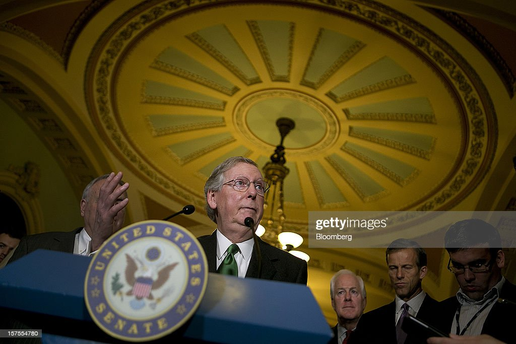 Senator Mitch McConnell, a Republican from Kentucky, speaks during a news conference after the weekly Republican Democratic Policy Committee meeting at the U.S. Capitol in Washington, D.C., U.S., on Tuesday, Dec. 4, 2012. Negotiations over the so-called fiscal cliff are stalled as President Obama and Republicans trade offers on ways to avoid more than $600 billion in U.S. spending cuts and tax increases for 2013 that will start to take effect in January if Congress doesn't act. Photographer: Andrew Harrer/Bloomberg via Getty Images