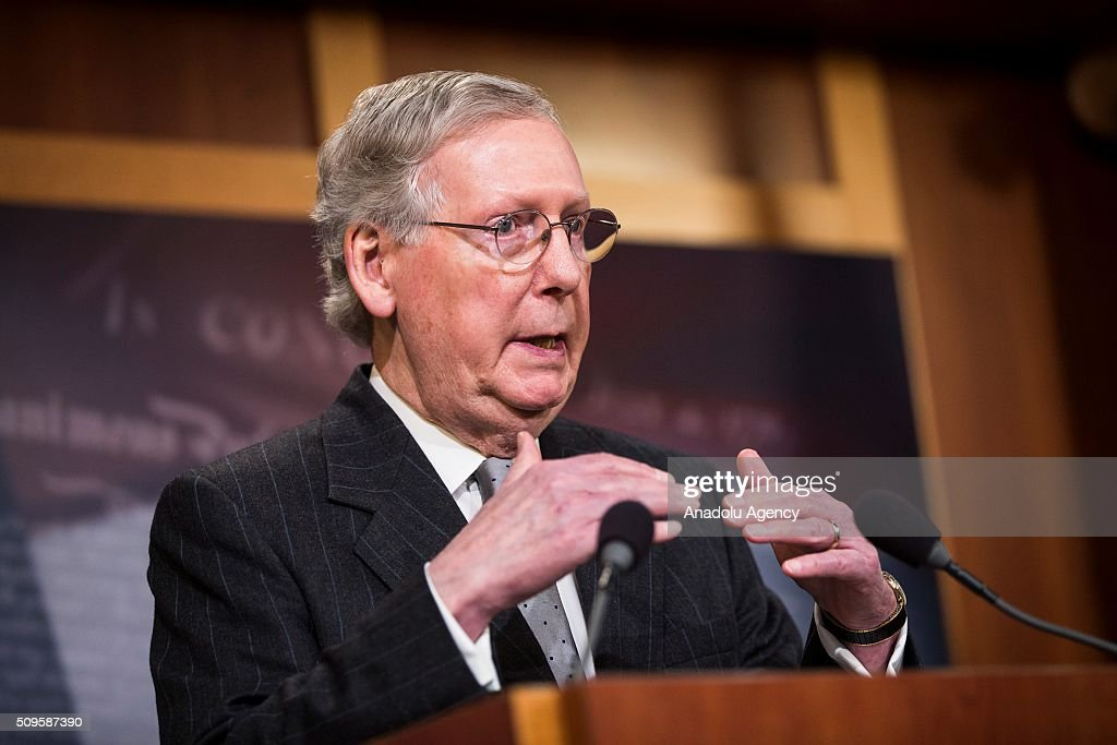 Senator Mitch McConnell speaks during a press conference on the Internet Tax Ban and Customs Report in Washington, USA on February 11, 2016.