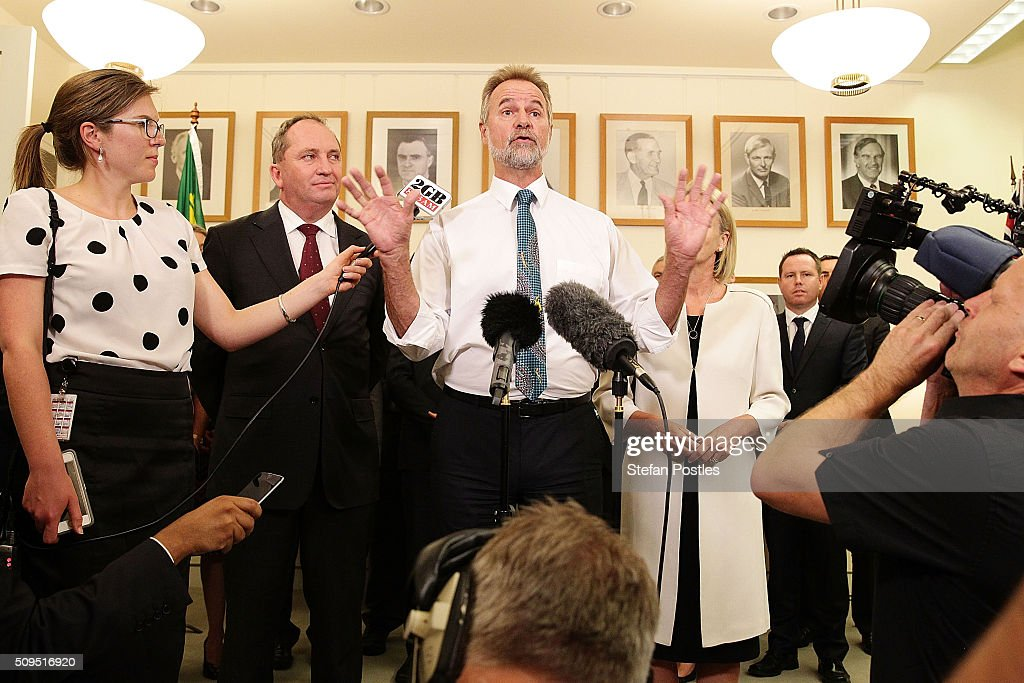 Senator Nigel Scullion speaks during a press conference held after the National Party elected Barnaby Joyce as leader and Fiona Nash as deputy leader at Parliament House on February 11, 2016 in Canberra, Australia. Warren Truss announced his retirement earlier on Thursday, triggering a leadership ballot.