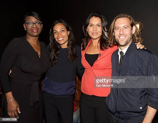 Senator Nina Turner Actress Rosario Dawson Congresswoman Tulsi Gabbard and Sean Carasso pose for a photo on the set of Live Stream Of 'My Peoples'...