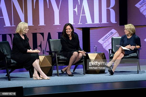US Senator of New York Kirsten Gillibrand Attorney General of California Kamala D Harris and Yahoo News Global Anchor Katie Couric speak onstage...