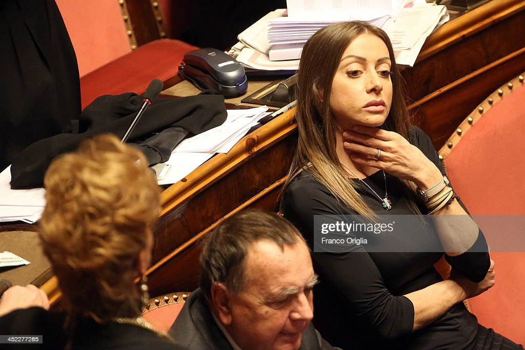 Senator of the PDL Party (center-right) Mariarosaria Rossi attends the votes over Silvio Berlusconi's Parliament expulsion at the Italian Senate, Palazzo Madama on November 27, 2013 in Rome, Italy. The Italian Senate has today voted to expel former Prime Minister Silvio Berlsuconi from parliament after his recent conviction over tax fraud.