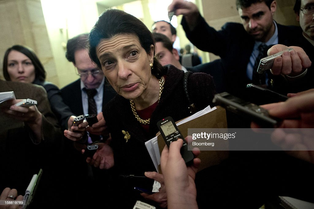 "Senator <a gi-track='captionPersonalityLinkClicked' href=/galleries/search?phrase=Olympia+Snowe&family=editorial&specificpeople=220538 ng-click='$event.stopPropagation()'>Olympia Snowe</a>, a Republican form Maine, speaks to members of the media about the fiscal crisis negotiations at the U.S. Capitol in Washington, D.C., U.S., on Sunday, Dec. 30, 2012. ""The one thing Congress is predictable about, and that is waiting until the very last hour, and maybe it is going to be the eleventh hour,"" Snowe said. ""We got one more day."" Photographer: Andrew Harrer/Bloomberg via Getty Images"