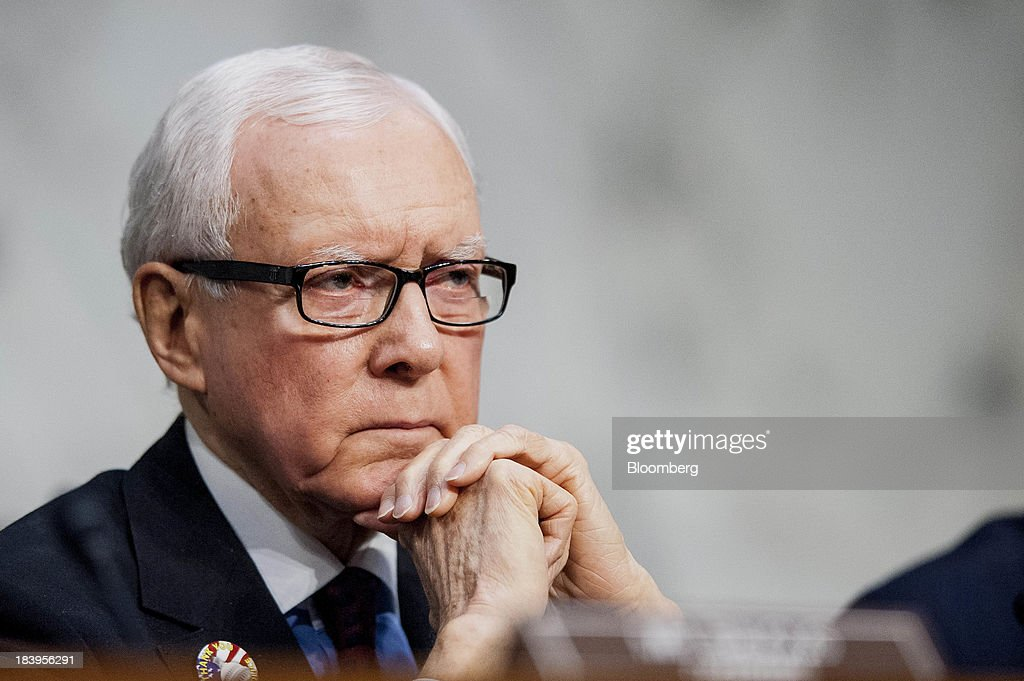 Senator Orrin Hatch, a Republican from Utah, listens to testimony during a Senate Finance Committee hearing on Capitol Hill in Washington, D.C., U.S., on Thursday, Oct.10, 2013. Treasury Secretary Jacob Lew warned that the congressional deadlock over the U.S. debt ceiling is 'beginning to stress the financial markets,' and failing to raise it by Oct. 17 could put Social Security and Medicare payments at risk. Photographer: Pete Marovich/Bloomberg via Getty Images