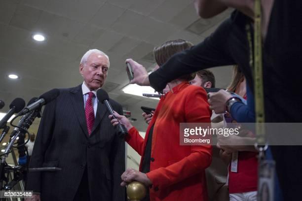 Senator Orrin Hatch a Republican from Utah speaks to members of the media near the Senate Subway in Washington DC US on Thursday July 27 2017 Senate...