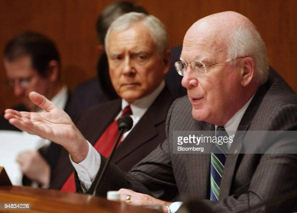 Senator Orrin Hatch center listens as Senator Patrick Leahy asks a question during a Senate Judiciary subcommittee hearing on updating the music...