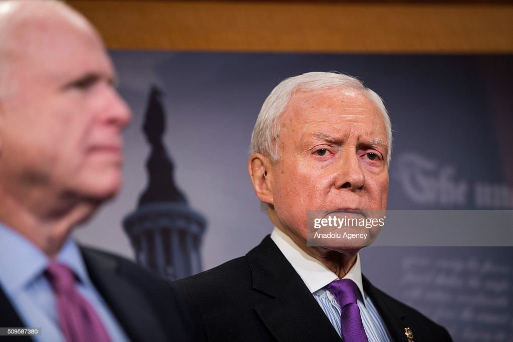 Senator Orrin Hatch during a press conference on the Internet Tax Ban and Customs Report in Washington, USA on February 11, 2016.