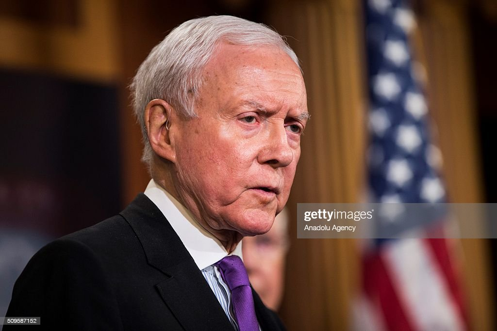 Senator Orrin Hatch speaks during a press conference on the Internet Tax Ban and Customs Report in Washington, USA on February 11, 2016.