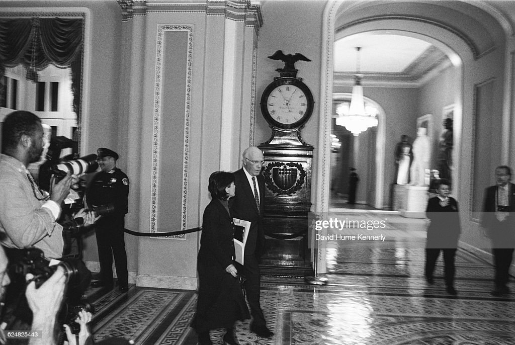 Senator Pat Leahy (D-Vert.) walks past the famous Ohio Clock outside the US Senate Chambers on January 20, 1999 during President Bill Clinton's Impeachment Trial in the Senate on charges of perjury and obstruction of justice. The charges stemmed from Clinton's relationship with White House intern Monica Lewinsky.