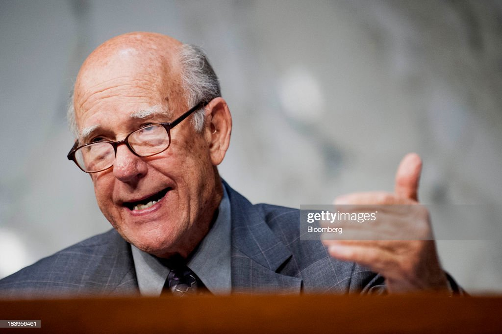 Senator <a gi-track='captionPersonalityLinkClicked' href=/galleries/search?phrase=Pat+Roberts&family=editorial&specificpeople=213805 ng-click='$event.stopPropagation()'>Pat Roberts</a>, a Rebublican from Kansas, speaks during a Senate Finance Committee hearing on Capitol Hill in Washington, D.C., U.S., on Thursday, Oct.10, 2013. Treasury Secretary Jacob Lew warned that the congressional deadlock over the U.S. debt ceiling is 'beginning to stress the financial markets,' and failing to raise it by Oct. 17 could put Social Security and Medicare payments at risk. Photographer: Pete Marovich/Bloomberg via Getty Images