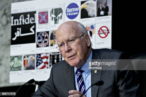 Senator Patrick Leahy a Democrat from Vermont questions witnesses during a Senate Judiciary Crime and Terrorism Subcommittee hearing in Washington DC...