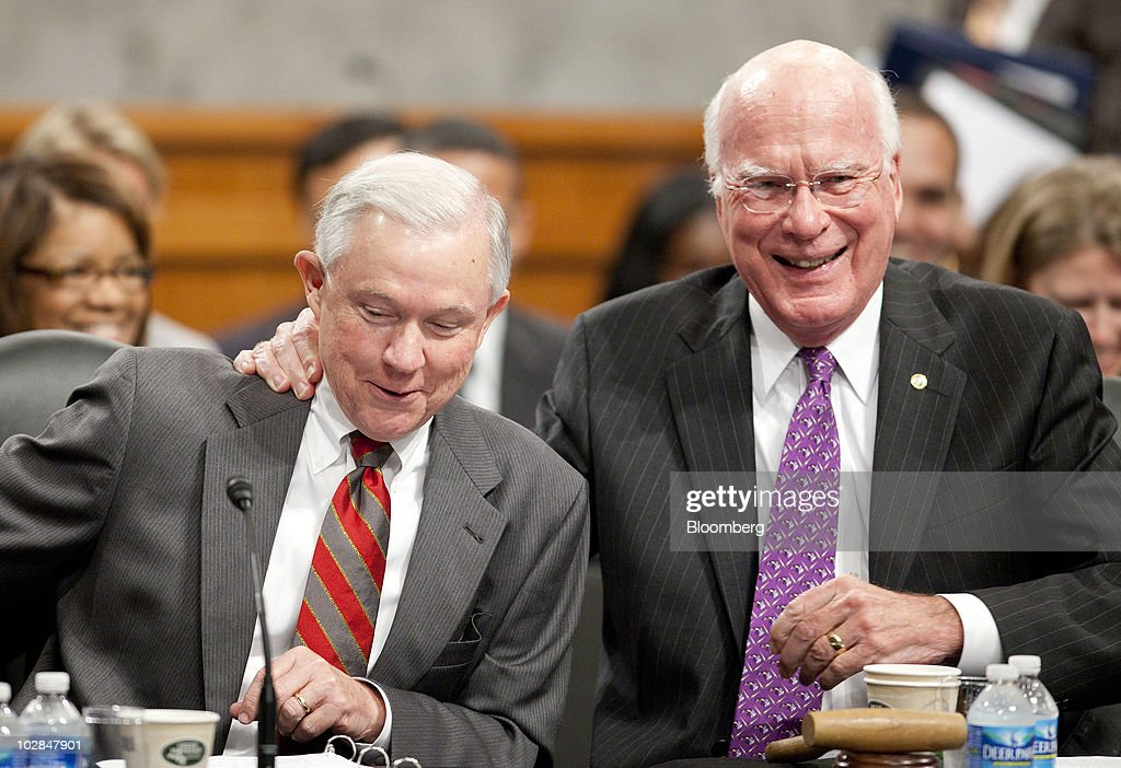Senator Patrick Leahy, a Democrat from Vermont, right, laughs with Senator <a gi-track='captionPersonalityLinkClicked' href=/galleries/search?phrase=Jeff+Sessions&family=editorial&specificpeople=534346 ng-click='$event.stopPropagation()'>Jeff Sessions</a>, a Republican from Alabama, during a Senate Judiciary Committee business meeting in Washington, D.C., U.S., on Tuesday, July 13, 2010. The committee will vote July 20 on Elena Kagan's nomination to the U.S. Supreme Court, said Leahy. Photographer: Andrew Harrer/Bloomberg via Getty Images