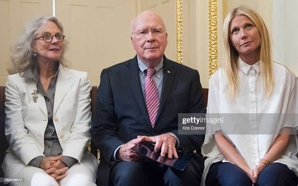 Senator Patrick Leahy(D-VT), with actresses Blythe Danner and her daughter Gwyneth Paltrow speak during a news conference to discuss opposition to H.R. 1599 on August 5, 2015 in Washington, DC. H.R.1599, known as the 'Deny Americans the Right to Know (DARK),' which would 'take away the right of states to label Genetically Modified Organisms, stop the Food and Drug Administration from ever using its authority to craft a national GMO labeling standard, and add to consumer confusion by allowing 'natural' claims on GMO foods.'