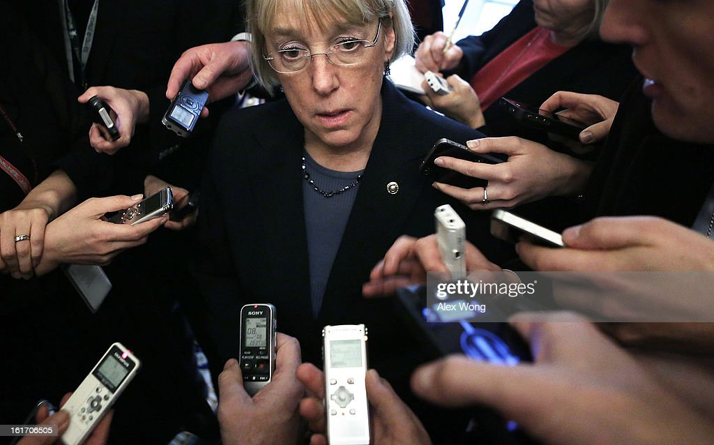 U.S. Senator Patty Murray (D-WA) speaks to members of the press at the Capitol February 14, 2013 on Capitol Hill in Washington, DC. The GOP senators are working to hold up the confirmation vote on former Sen. Chuck Hagel (R-NE) to be the next secretary of defense until they get more information from the Obama Administration about last fall's attack on the U.S. consulate in Libya.