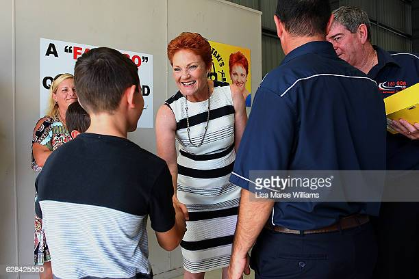 Senator Pauline Hanson meets local taxi owners and family memebrs at Suncoast Cabs head office on December 8 2016 in Sunshine Coast Australia Senator...