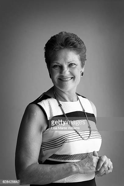 Senator Pauline Hanson poses at Suncoast Cabs head office on December 8 2016 in Sunshine Coast Australia Senator Hanson met with representatives from...