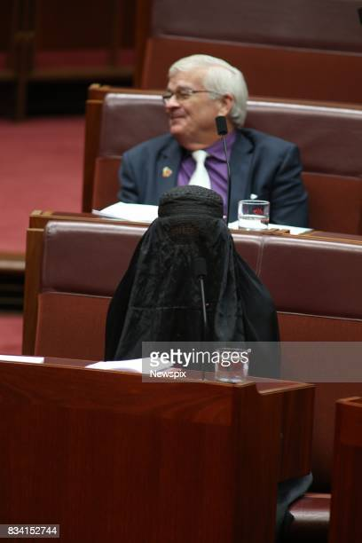 CANBERRA ACT Senator Pauline Hanson sits in the senate wearing a burqa in Parliament in Canberra Australian Capital Territory