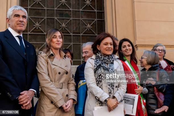 Senator Pierferdinando Casini Maria Elena Boschi Undersecretary Ruth Dureghello President of the Jewish Community and Virginia Raggi mayor of Rome...
