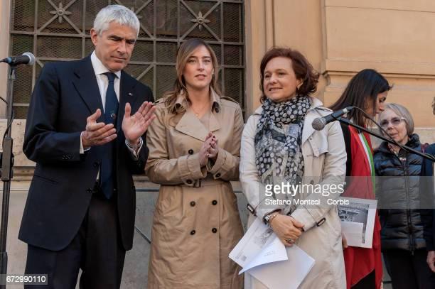 Senator Pierfinando Casini Maria Elena Boschi Undersecretary Ruth Dureghello President of the Jewish Community during the Event in Rome to celebrate...