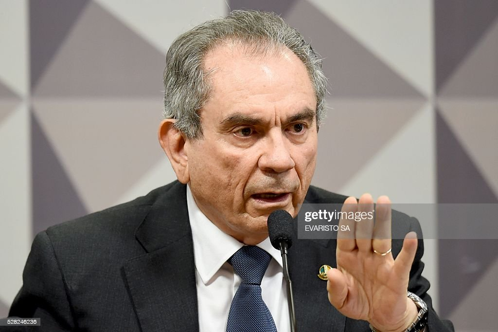 Senator Raimundo Lira, President of the Senate's Impeachment Special Committee against President Dilma Rousseff, attends the report reading session, at the National Congress in Brasilia, on May 4, 2016. An explosive new twist in Brazil's corruption and impeachment crisis has weakened President Dilma Rousseff days before her probable suspension from office -- and strengthened the man likely to replace her. / AFP / EVARISTO SA