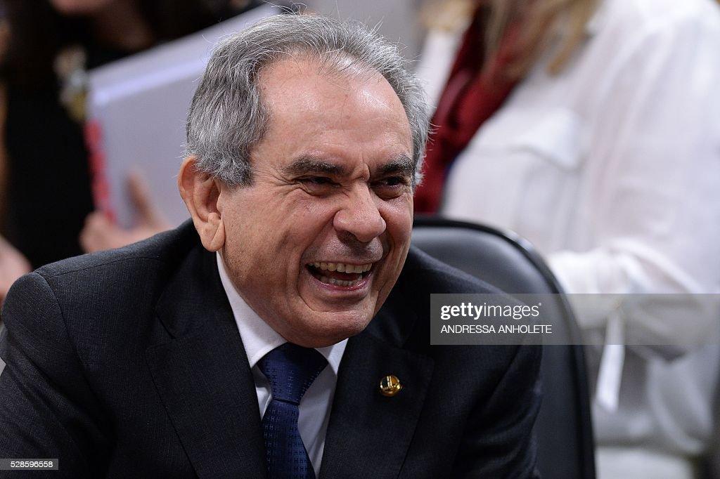 Senator Raimundo Lira, President of the Senate's Impeachment Special Committee against President Dilma Rousseff, attends a voting session at the National Congress in Brasilia on May 6, 2016. A special committee in Brazil's Senate was to vote Friday on whether to recommend starting an impeachment trial against President Dilma Rousseff who faces being suspended from office in less than a week. / AFP / ANDRESSA