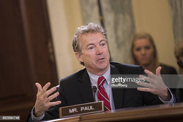 Senator Rand Paul a Republican from Kentucky questions Linda McMahon Small Business Administration administrator nominee for US President Donald...