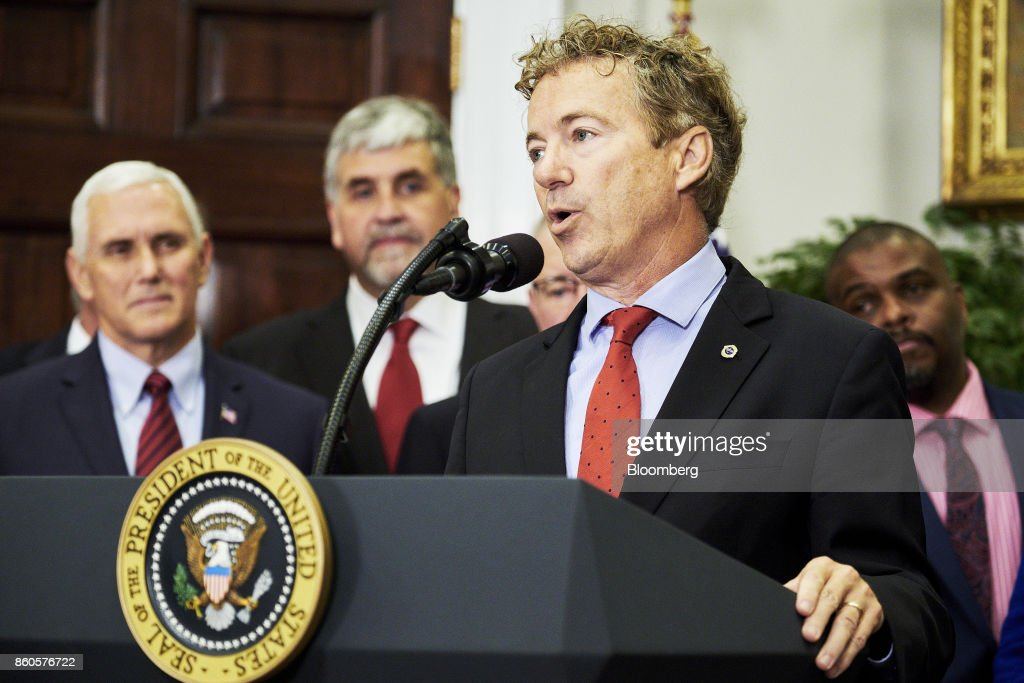 Senator Rand Paul, a Republican from Kentucky, speaks before U.S. President Donald Trump, not pictured, signs an executive order on health care in the Roosevelt Room of the White House in Washington, D.C., U.S., on Thursday, Oct. 12, 2017. Trumpsigned an executive order Thursday designed to expand health insurance options for some Americans, in a move that may also undermine coverage for those who remain in Obamacare. Photographer: T.J. Kirkpatrick/Bloomberg via Getty Images