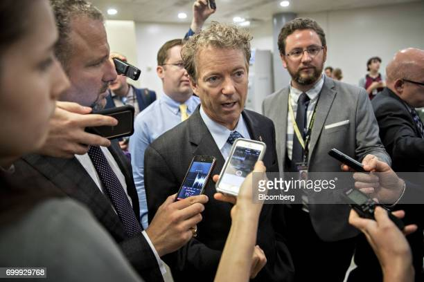 Senator Rand Paul a Republican from Kentucky speaks to members of the media in the basement of the US Capitol in Washington DC US on Thursday June 22...
