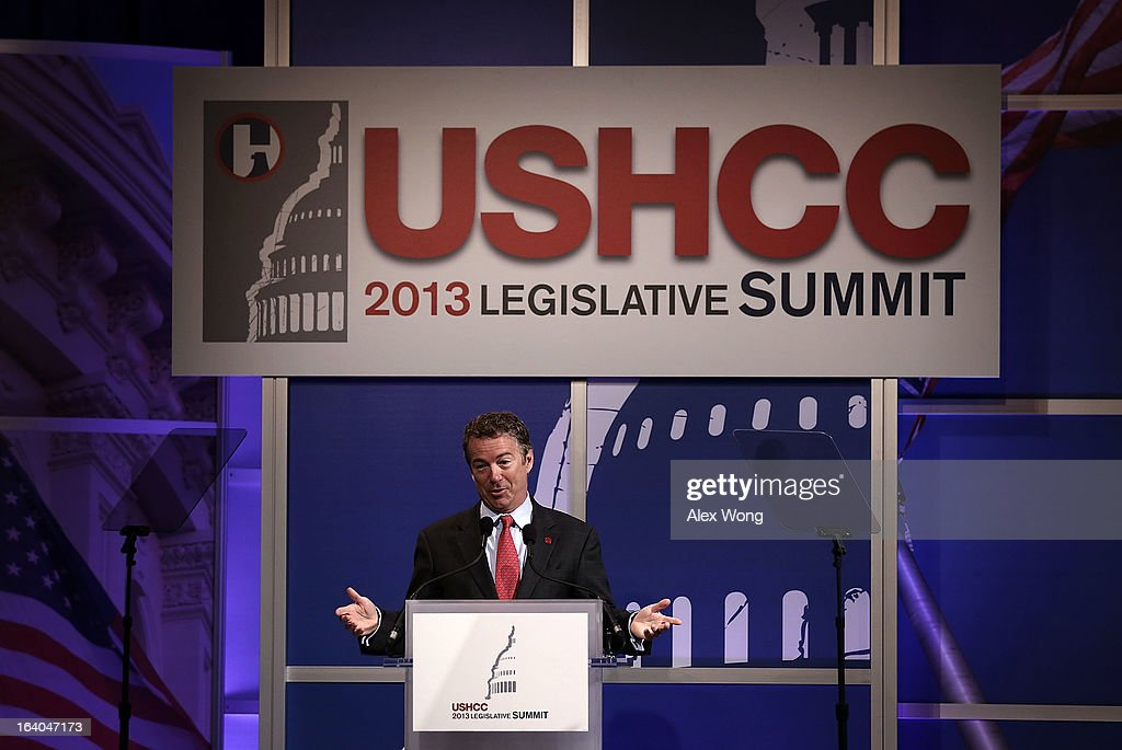 U.S. Senator <a gi-track='captionPersonalityLinkClicked' href=/galleries/search?phrase=Rand+Paul&family=editorial&specificpeople=6939188 ng-click='$event.stopPropagation()'>Rand Paul</a> (R-KY) addresses a breakfast meeting of the 2013 Annual Legislative Summit of U.S. Hispanic Chamber of Commerce (USHCC) March 19, 2013 at Capitol Hilton Hotel in Washington, DC. Paul spoke on immigration and he announced his endorsement for a pathway for the 11 million illegal immigrants in the United States to become citizens.