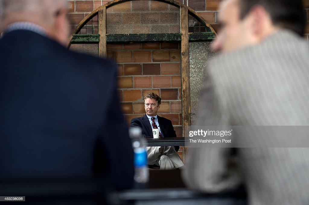 Senator Rand Paul (R-KY) attends a round table meeting with Ben Sasse at The MasterCraft in Omaha, Nebraska, on Monday, August 4, 2014.