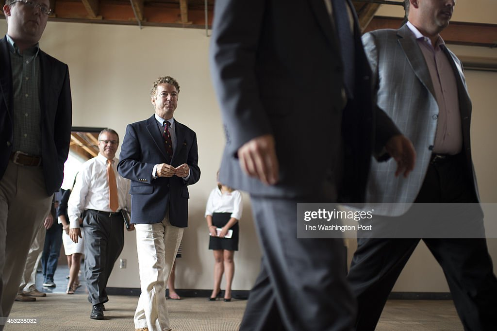 Senator Rand Paul (R-KY) makes an appearance with Ben Sasse at The MasterCraft in Omaha, Nebraska, on Monday, August 4, 2014.