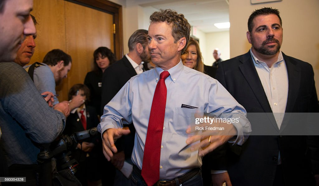 Senator Rand Paul speaking at town hall in Milford NH during his presidential announcement tour on April 8 2015 Paul spoke to a crowd of about 400...