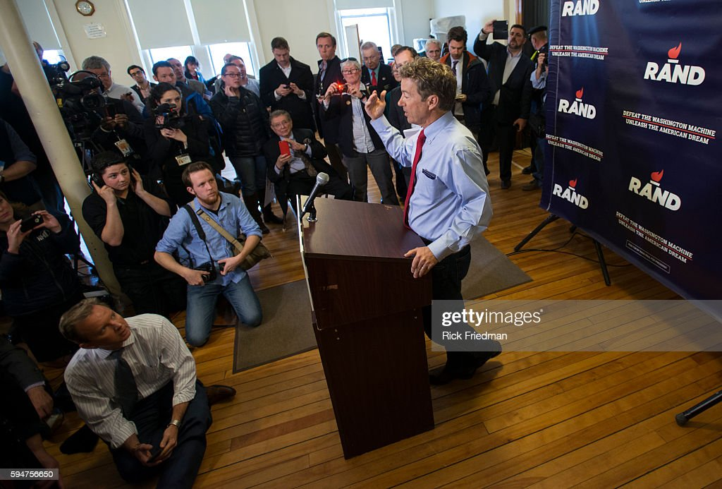 Senator Rand Paul speaking to the media after a campaign event at town hall in Milford NH during his presidential announcement tour on April 8 2015...