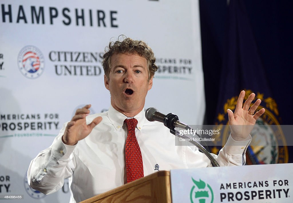 U.S. Senator Rand Paul (R-KY) speaks at the Freedom Summit at The Executive Court Banquet Facility April 12, 2014 in Manchester, New Hampshire. The Freedom Summit held its inaugural event where national conservative leaders bring together grassroots activists on the eve of tax day. Photo by Darren McCollester/Getty Images)