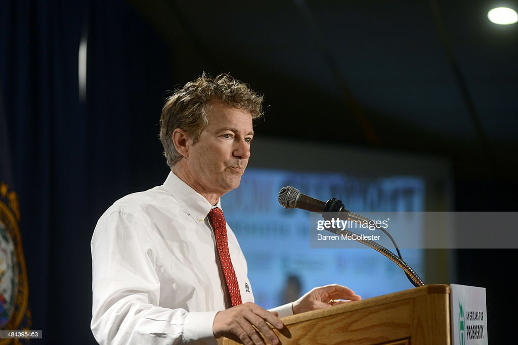 U.S. Senator <a gi-track='captionPersonalityLinkClicked' href=/galleries/search?phrase=Rand+Paul&family=editorial&specificpeople=6939188 ng-click='$event.stopPropagation()'>Rand Paul</a> (R-KY) speaks at the Freedom Summit at The Executive Court Banquet Facility April 12, 2014 in Manchester, New Hampshire. The Freedom Summit held its inaugural event where national conservative leaders bring together grassroots activists on the eve of tax day. Photo by Darren McCollester/Getty Images)