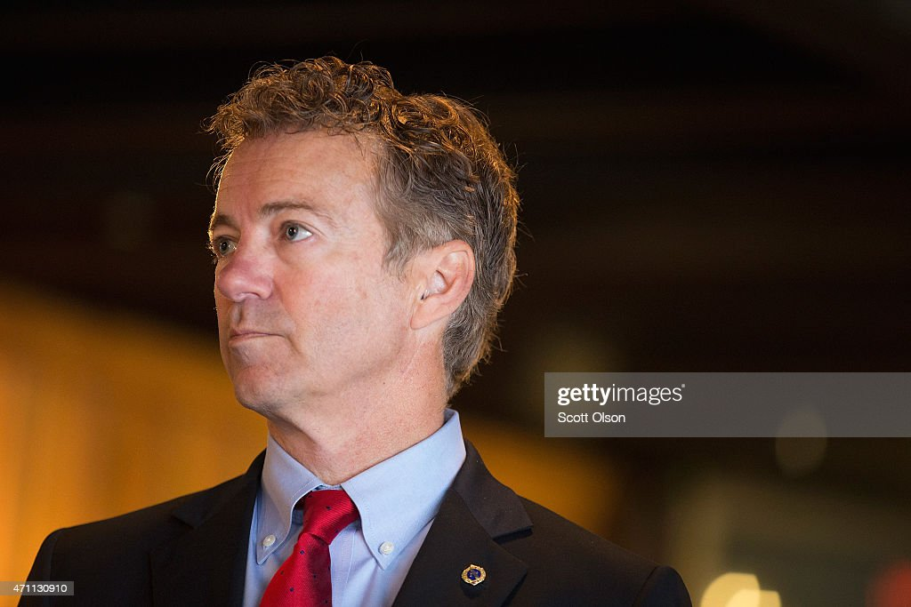 Senator <a gi-track='captionPersonalityLinkClicked' href=/galleries/search?phrase=Rand+Paul&family=editorial&specificpeople=6939188 ng-click='$event.stopPropagation()'>Rand Paul</a> (R-KY) speaks to guests at a campaign event at Bloomsbury Farm on April 25, 2015 in Atkins, Iowa. Paul is seeking the 2016 Republican presidential nomination.