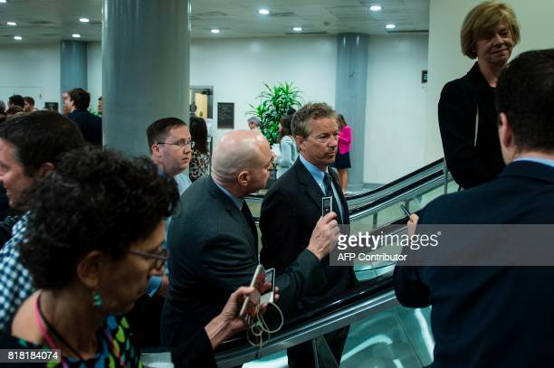 Senator Rand Paul walks to a vote on Capitol Hill July 18 2017 in Washington DC Republican leaders are desperate for a major legislative victory this...
