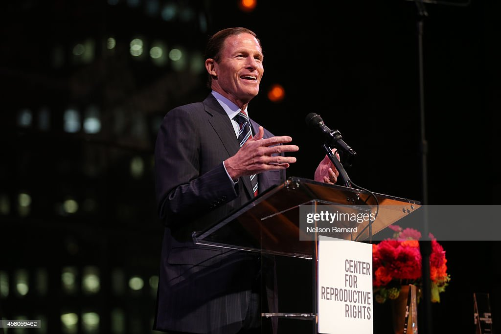 Senator <a gi-track='captionPersonalityLinkClicked' href=/galleries/search?phrase=Richard+Blumenthal&family=editorial&specificpeople=1036916 ng-click='$event.stopPropagation()'>Richard Blumenthal</a> speaks onstage at the Center for Reproductive Rights 2014 Gala at Jazz at Lincoln Center on October 29, 2014 in New York City.