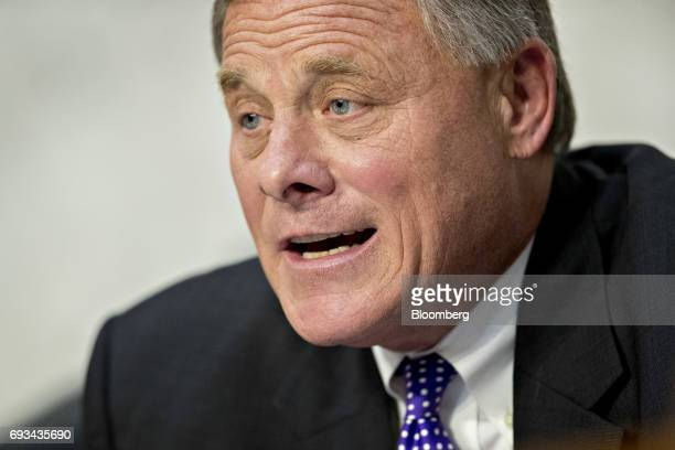 Senator Richard Burr a Republican from North Carolina and chairman of the Senate Intelligence Committee makes an opening statement during a hearing...