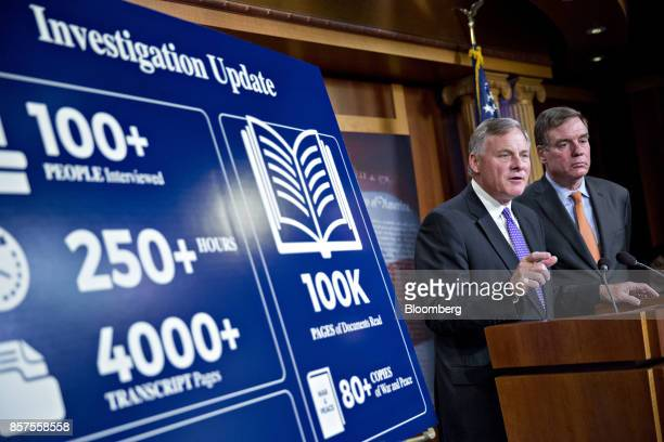 Senator Richard Burr a Republican from North Carolina and chairman of the Senate Intelligence Committee speaks as ranking member Senator Mark Warner...