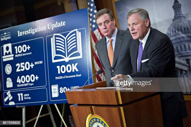 Senator Richard Burr a Republican from North Carolina and chairman of the Senate Intelligence Committee right speaks as ranking member Senator Mark...
