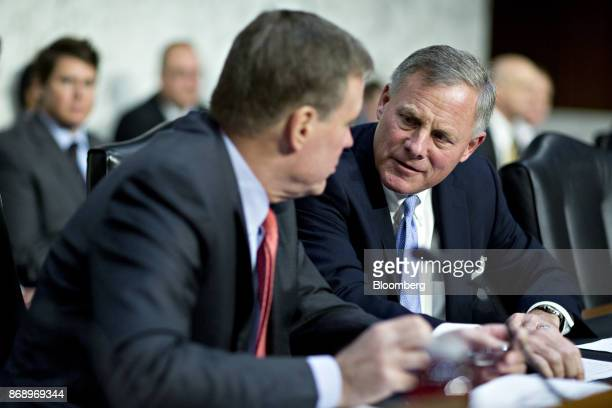 Senator Richard Burr a Republican from North Carolina and chairman of the Senate Intelligence Committee right speaks with ranking member Senator Mark...