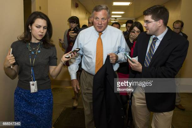 Senator Richard Burr a Republican from North Carolina speaks to members of the media at the US Capitol building in Washington DC US on Thursday May...